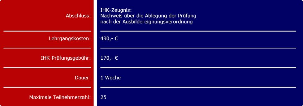 Rahmenangaben zur AEVO in Köln und Erftstadt